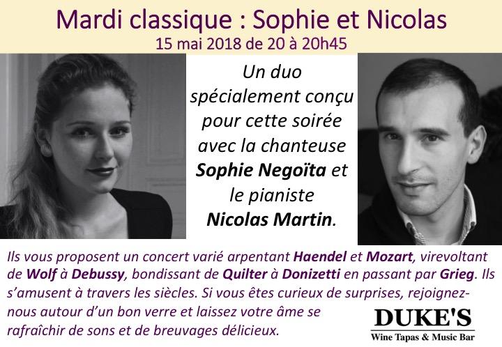 Mardi classique du 15 mai 2018 Duo avec Sophie et Nicolas